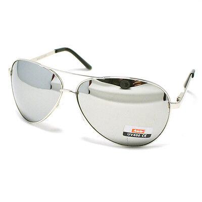 Men's Classic COP PILOT AVIATOR Fashion Sunglasses SILVER/MIRROR (Mirror Aviators)