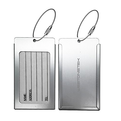 Pack of 2 Luggage Tags Aluminum Metal Travel ID Tag Business