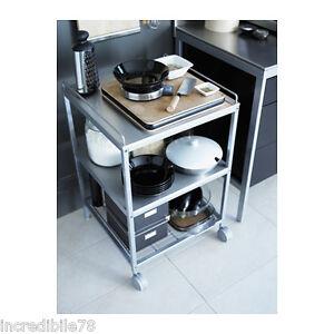 ikea udden carrello, color argento, inox, arredo cucina, piano ... - Cucine Acciaio Ikea