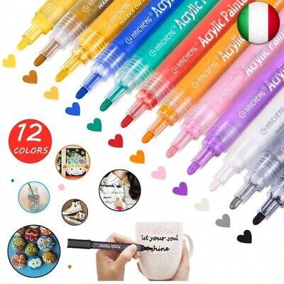 12 Colori Pennarelli a Vernice Acrilica per Pietra, Rocce, Legno, Metallo,