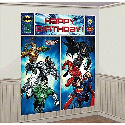 Justice League WALL BANNER DECORATING KIT (5pc) ~ Happy Birthday Party Supplies - Justice League Birthday Party