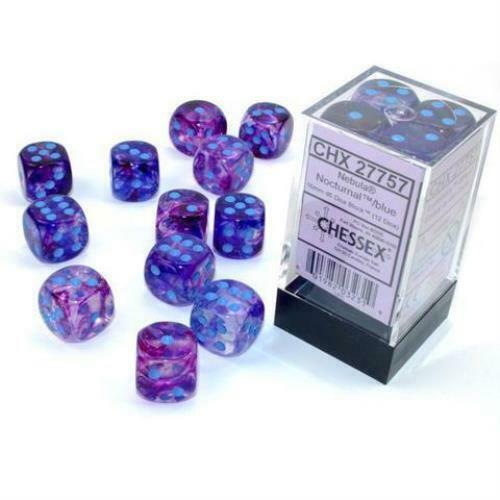 Chessex Nebula Noctural Luminary with Blue Pips 16mm Dice Block (12 dice)