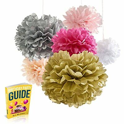 Seidenpapier Pom Poms Blumen, 18 Pom Pom Pack Super-Fun Pink und Gold Party Su (Pink Und Gold Dekoration)