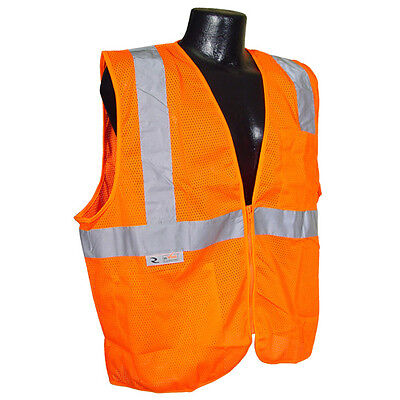 2 Pockets Mesh Neon Orange Safety Vest Reflective Strips Ansiisea Small