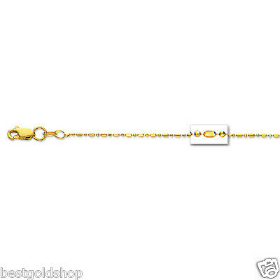 1mm Diamond Cut Elongated Bead Ball Chain Necklace Real Solid 14K Yellow - 1 Mm Bead Chain