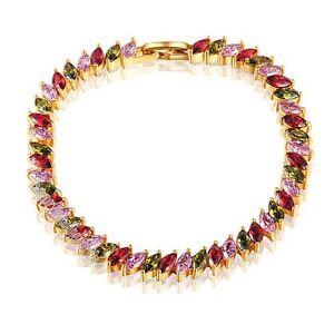 18k-yellow-gold-GP-swarovski-crystal-colorful-cz-zircon-bracelet-B686