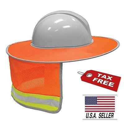 Reflective Hi Vis Full Brim Safety Hard Hat Sun Shade For Head Neck Protection