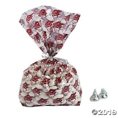 Graduation Favor Bags Goody Bags Burgundy Clear Decoration Favor Party Supplies (Clear Goodie Bags)