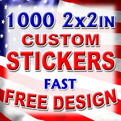 1000 2x2 Custom Print Full Color Outdoor Vinyl Car Bumper Sticker Decal Die Cut