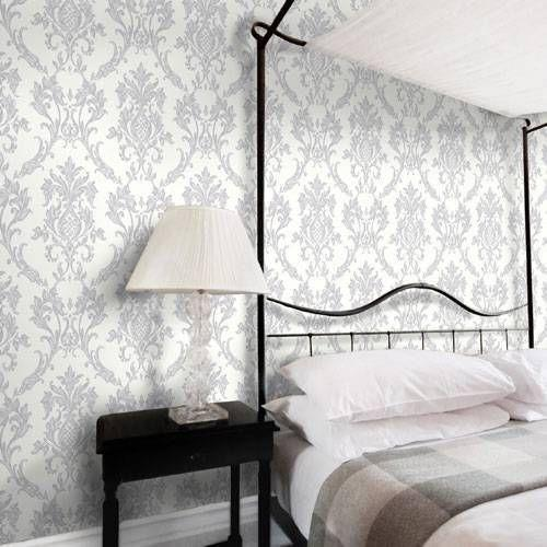 Damask wallpaper diy materials ebay for Grey wallpaper bedroom