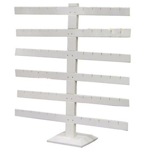 "6 Tier 6 Bar White Earring Display Stand 14 1/8"" Wide x 15 1/8"" Tall"