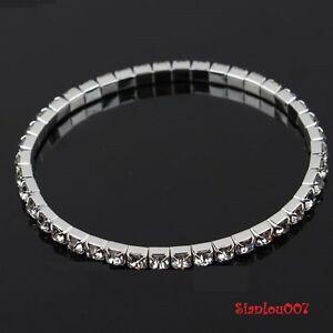 Clear-Diamonte-Diamante-1-Row-Stretchy-Bracelet-BRAND-NEW