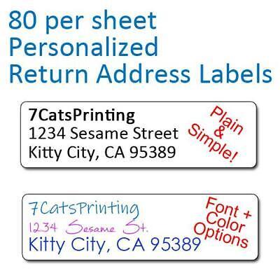 80 Plain Personalized Return Address Labels Printed 12 X 1 34 Inch