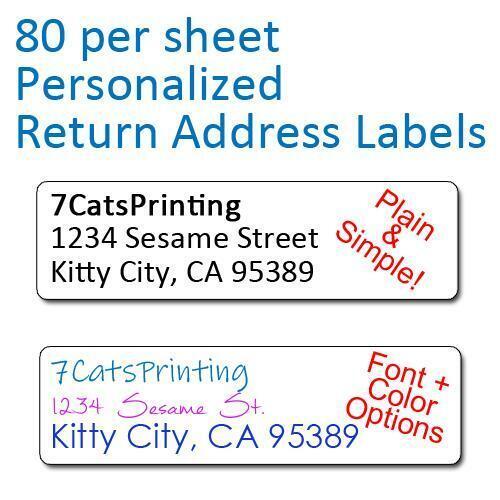 80 Plain Personalized Return Address Labels Printed 1/2 x 1 3/4 Inch