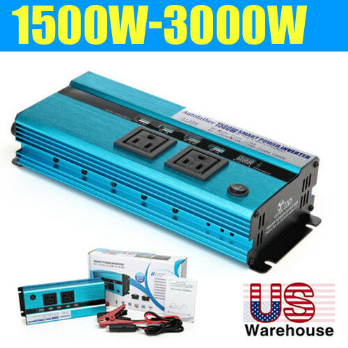1500W /3000 Watt Peak Power Inverter DC 12V to AC 110V for RV Truck Cars Pickup