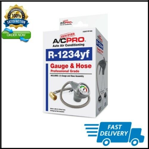 AC Pro Car Air Conditioner R1234YF Refrigerant ncludes Gauge and Hose 24 in New