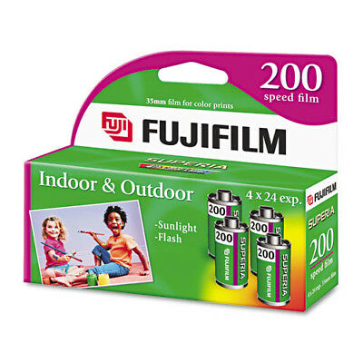 (4 Rolls) Fuji 200 35mm Film 4pk CA 135-24 Exp Fuji Camera 12/2017 Wholesale