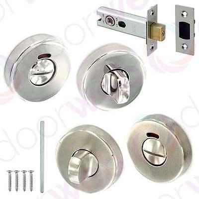 Indicator Bathroom Door Lock Thumb Turn Deadbolt Release Toilet Privacy Steel