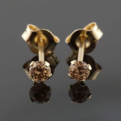 18k Brilliant Cut Stud - 2Ct BRILLIANT CUT Chocolate Diamond 18k Yellow Gold Over Halo Stud Earrings