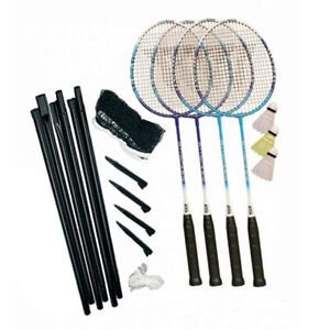 Full Size 4 Player Outdoor Garden Badminton Set Rackets Net Posts & Shuttlecocks