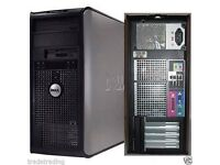 Windows 7 Dell Core 2 Duo 4GB 500GB DVD Desktop PC Computer Tower