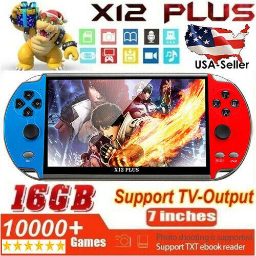 "X12 Plus 7"" 16GB Retro Game Consoles Handheld Portable Games Console USA e-i"