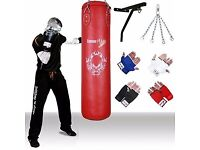 Red Vinyl Kickboxing Punch Bag set That includes Chain, Wall Bracket & Inner Mitts by TurnerMAX