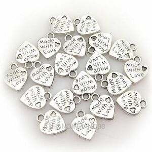 WHOLESALE-100PCS-SILVER-GOLD-PLATED-LOVE-HEART-BEADS-CHARMS-PENDANTS-JEWELRY-DIY