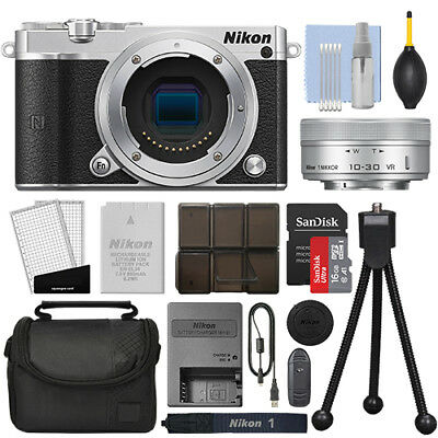 Nikon 1 J5 Mirrorless Digital Camera with 10-30mm VR Lens Silver + 16GB Kit