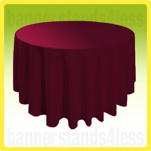"""10 PACK of 120"""" BURGUNDY RED Round Tablecloth Table Cover Wedding Banquet Event"""
