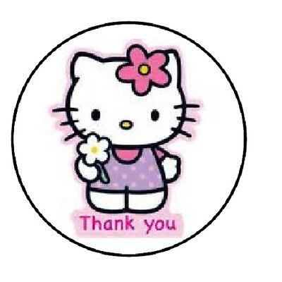 48 Thank You Kitty     Envelope Seals Labels Stickers 1 2  Round