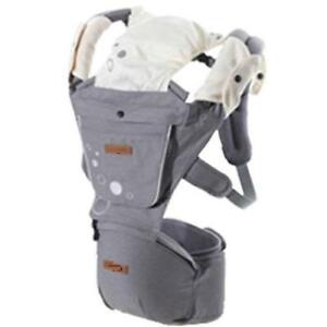 Baby Carrier with Hip Seat for Newborns, Babies & Toddlers - Grey - free shipping
