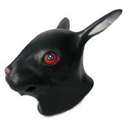 Lovable Black Rabbit Latex Halloween Cardinal Mask Animal Head Party - Black Rabbit Halloween