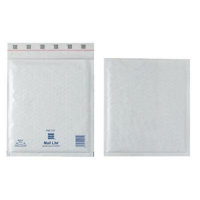Mail Lite White Mailing Padded Postal Bags E/2 220MM X 260MM Envelopes - Bx 100