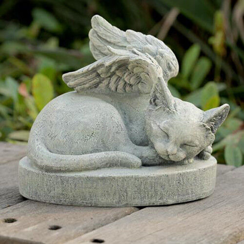 Cat Angel Wings Pet Memorial Outdoor Statue Patio Garden Yard Lawn Decor
