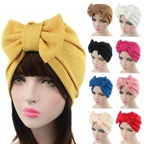 Womens Ladies Bow Solid Bonnet Chemo Hijab Turban Cap Beanie