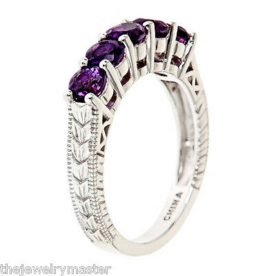 AMETHYST WEDDING BAND RING ROUND 4mm 925 STERLING SILVER WOMENS 1.25 CARATS 1.25 Carats Amethyst Ring