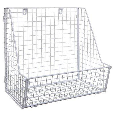 Modern White Metal Wire Wall Mounted Hanging Towel Basket / Freestanding Magazin ()