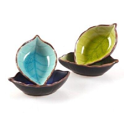 Kitchen Bowl Dish Glaze Leaf Ceramic Seasoning Soy Sauce Vinegar Small Plates Sauce Dish Bowl