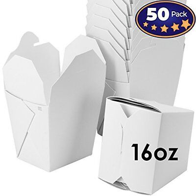 Microwavable White Chinese 16 oz Take Out Boxes. 50 Pack by Avant Grub...