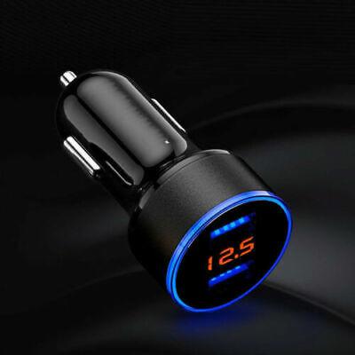 Dual USB Ports 3.1A 12/24V Car Cigarette Charger Lighter Digital LED Voltmeter