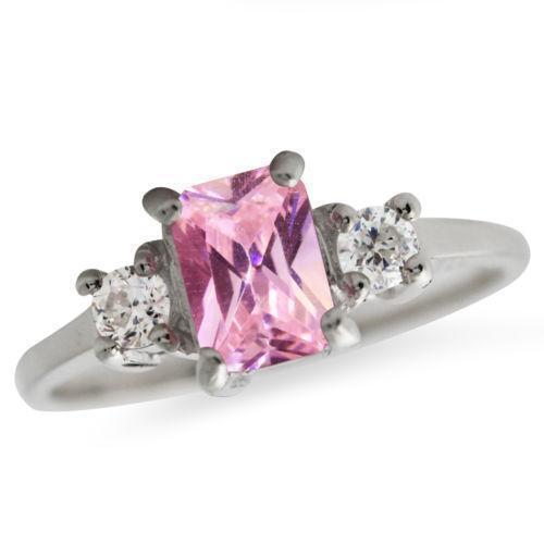 sterling silver pink cz ring ebay