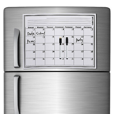 """17"""" x 11"""" Refrigerator Calendar Monthly Dry Erase Magnetic Flexible White Board"""