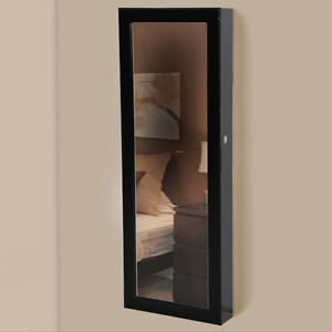 Mirrored Jewelry Cabinet Armoire Organizer Storage Wall Mount Jewelry Case