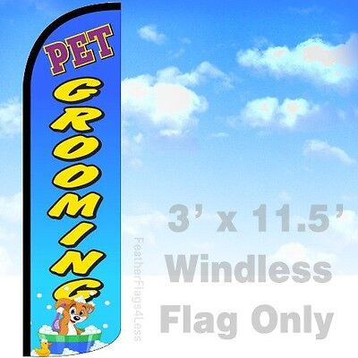 Pet Grooming - Windless Swooper Flag Feather Banner Sign 3x11.5 - Bq