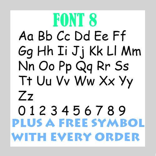Personalised  Name Word Letter Vinyl Custom Sticker Car Wall art FREE symbol 9