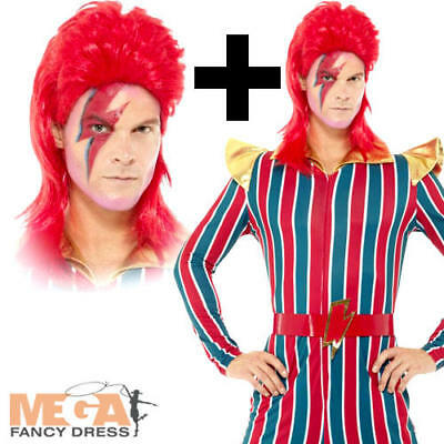 Space Superstar + Wig Mens Fancy Dress 1980s David Bowie Celebrity Adult (David Bowie Fancy Dress Kostüme)