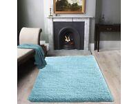 Carpet rug blue shaggy nearly new bargain £20