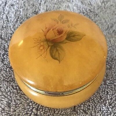 MADE IN ITALY HAND CARVED GENUINE ALABASTER HINGED TRINKET BOX
