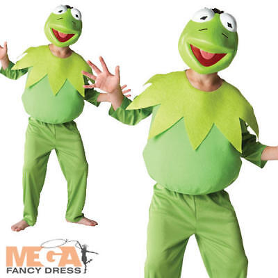 Deluxe Kermit The Frog The Muppets Boys Kids Fancy Dress Kids Costume + Mask